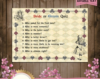 Printable Bridal Shower Game, Bride or Groom Trivia,  Alice in Wonderland DOWNLOAD Instantly - EDITABLE TEXT