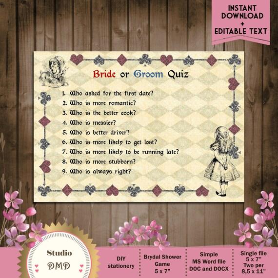 Bride And Groom Trivia: Printable Bridal Shower Game Bride Or Groom Trivia Alice In