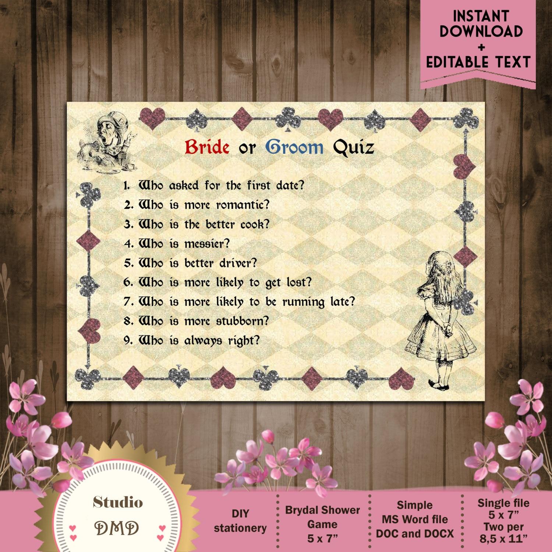 Printable Bridal Shower Game Bride Or Groom Trivia Alice In