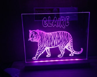 Tiger With Name light up sign. illuminated animals
