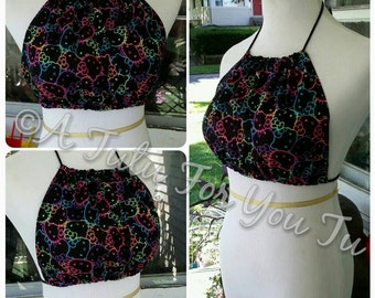 Neon Hello Kitty Halter Crop Top