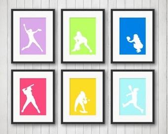 softball decor sports decor softball print teen room girl sports childrens