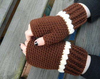 Crocheted Fingerless Mittens, Gloves  in Chocolate Brown and Cream
