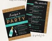 Bachelorette party invitation, 2 sided bachelorette invite, gold glitter bachelorette, champagne bachelorette invite, bachelorette weekend