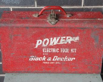 Vintage Black and Decker RED METAL Tool Box