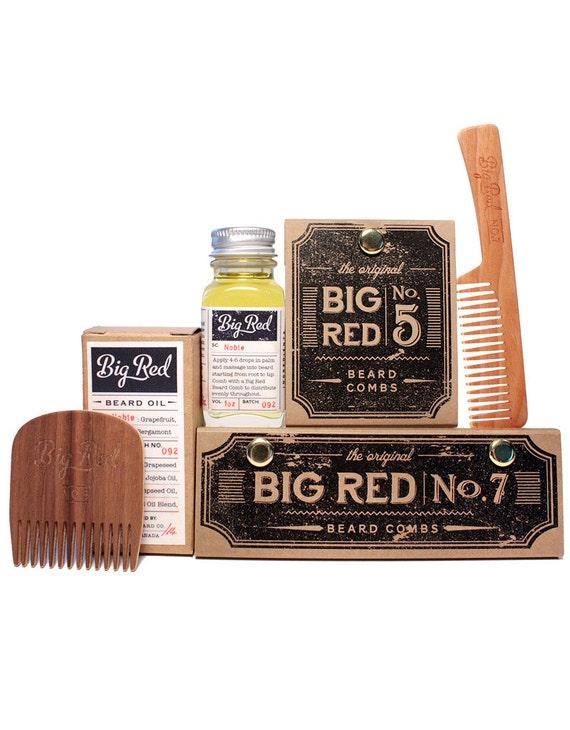 kit grande barbe rouge 2 peignes 1 barbe huile. Black Bedroom Furniture Sets. Home Design Ideas