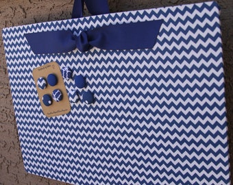 "Magnetic Board (24"" x 18"") Fabric covered magnet board Royal blue chevron, Memo Board, Decorative Bulletin Board, Photo display, Kids room"