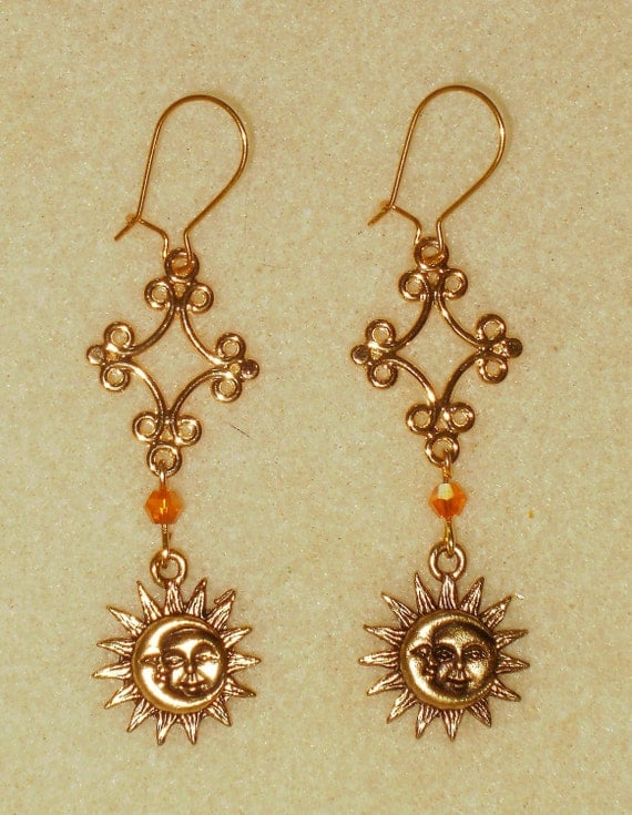 golden sun moon earrings by maggiesnorthcountry on etsy