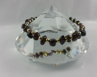 Garnet & Copper Wire Bracelet