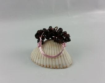 Garnet Wire Cluster Ring