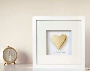 Wedding Gift Bridesmaid Gift Best Man Gift Couple Gift, Valentine's Day - Heart gold Art Frame - sentence is forever ...