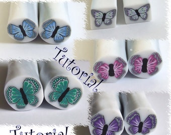 Polymer clay butterfly cane tutorial.
