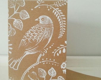 Handmade Greeting Card: A6 Kraft Card with Handprinted Turtle Dove Bird in White. Customise Message Inside.
