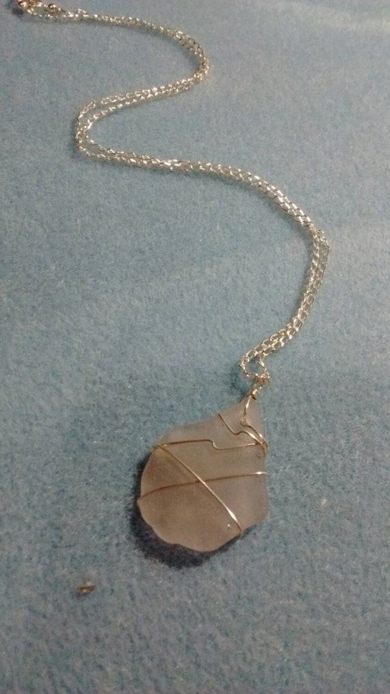Lavender Wire Wrapped Authentic Sea Glass and Sterling Silver Necklace SG615173