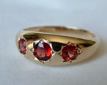 Garnet Gold Gypsy Ring * Garnet Gysy Ring * 9ct Gold Garnet Ring * 9k Gold Garnet Gypsy ring * Gold Ring