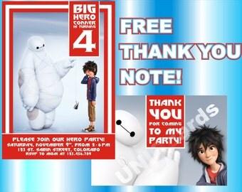 Big Hero 6 invitation, Big Hero 6 birthday invitation - THANK YOU note for free!!