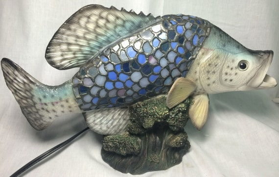 Blue fish bass trout catfish stained glass tiffany vintage for Blue bass fish