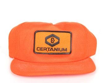 Vintage Orange Trucker Hat / Mens Hat / Trucker Cap / Baseball Cap / Certanium Hat / Womens Baseball Hat Cap / Textured Corduroy