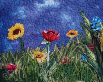 Framed Landscape Quilt, Small Quilt, Fabric Collage, Textile Art, Wall Hanging Poppies, Flowers, Fiber Art Poppies, Sunflowers, Nature Quilt