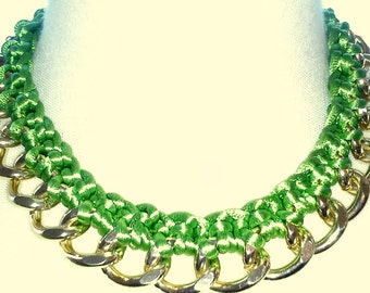 Boho luxe  link chain statement chartreuse green  necklace
