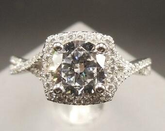 Solid 14K White Gold Round 6MM Semi Mount Ring / Engagement & Wedding Ring / Diamond Ring