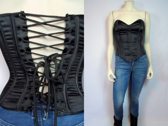 Zipper Lace Up Corset SHIRLEY HOLLYWOOD By MirrorballBoutique