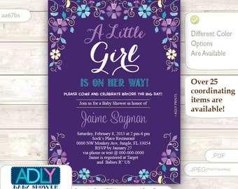Purple, Turquoise and Gold Baby Shower Invitation, blossom invitation, teal, yellow, lilac, lavander, floral, nature, flowers - aa67bs