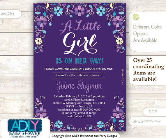 purple turquoise and gold baby shower invitation blossom invitation