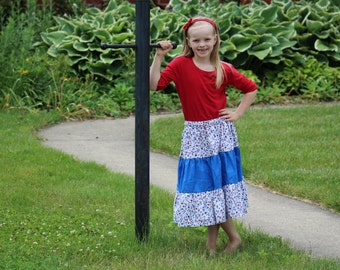 Patriotic Stars Tiered Skirt girls size 7-8