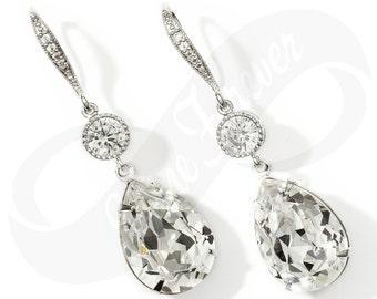 Bridesmaid Jewlery Bridesmaid Swarovski Crystal Earrings Bridal Earring Bridesmaid Jewelry Drop Earring Wedding Jewelry Diamond Look