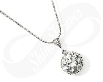 Bridesmaid Jewlery Bridal Cubic Zirconia Necklace Bridal Necklace CZ Bridesmaid Gift Wedding Jewelry Hypoallergenic Sparkly Jewelry