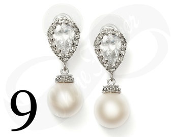 Set of 9 Bridesmaid Earrings Bridal Jewelry Bridesmaid Jewlery Pearl Earrings Bridal Jewlery Pearl Bridal Jewelry Bridesmaid Gift Jewelry