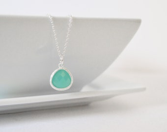 Mint Aqua Necklace, Sterling Silver Necklace, Bridesmaid Gift, Mint Green Pendant Necklace, Mint Silver Necklace, Mint Crystal Jewelry