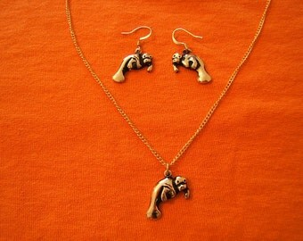 Free Shipping*, Necklace, Earrings, Set,  Sea Lions, Jewelry, Accessories, Gold, Antique Finish, Tropical, Sea Life, Beach Jewelry, #80098-1