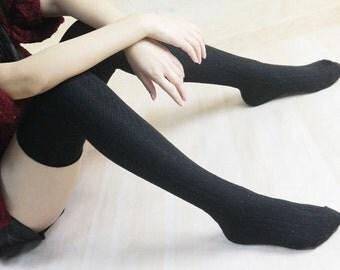 Cotton Black Womens Knit Socks Knee Socks Thigh High Socks Boot socks Peep Socks zjb 1107