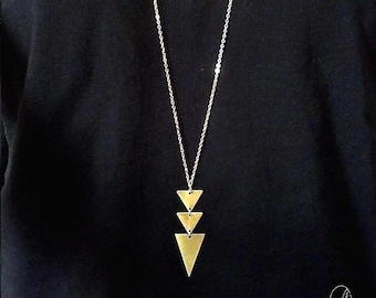 Gold Triangle Long Necklace - Geometric Long Necklace - Tribal Aztec Arrow Necklace - Simple Dainty Geo Necklace
