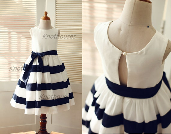 Ivory navy blue stripe taffeta flower girl by knothouses for Striped bridesmaid dresses wedding