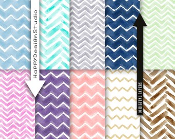 """Chevron watercolor digital paper pack 12""""x12"""" instant download zigzag zig zag chevrons paper pack hand painted invitation design printable"""