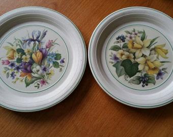 2 Hornsea England Floral Dinner Plates
