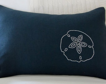 Hand-Embroidered White Sand Dollar on Stonewashed Navy Blue 100% Linen 12 x 18 Lumbar Pillow Cover - Beach Decor