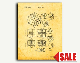 Patent Poster - Rubik Cube Toy Patent Wall Art Poster Print