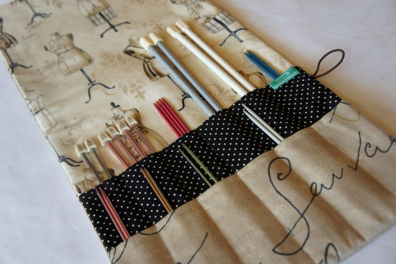 Knitting Needle Case Nz : Knitting needle case deluxe crochet hook french script