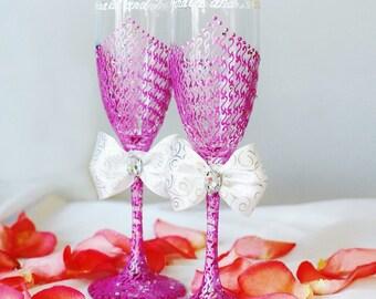Fuchsia Wedding Glasses With Crystals, Wedding Glasses, Bridal Shower Gift, Wedding Toasitg Flutes, Wedding Gift