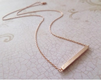 Tiny Rose Gold Necklace Delicate Gold Bar Necklace Simple Rose Gold Plated Dainty Rose Gold Bar Pendant