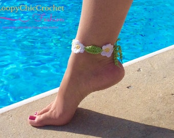 Crochet Ankle Bracelet with Dainty Daisies for Women or Teens