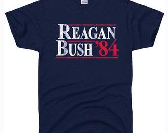 REAGAN BUSH 84 political election tee conservative 80s retro Republican T-SHIRT
