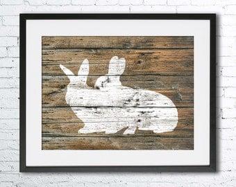 Rabbits Love art illustration print, Rabbit painting, Rustic Wood art, animal print, Home Decor, Animal silhouette, Kitchen decor,