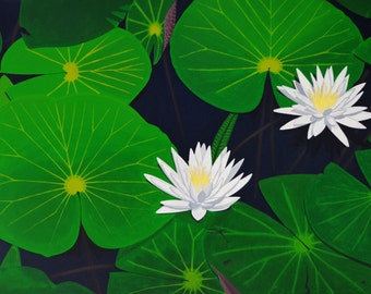 Water Lilies Large Original Acrylic Painting
