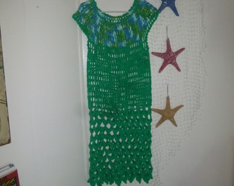 crocheted swim suit cover up, 100% cottone, emerald green variegated