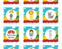 Wizard of Oz Birthday Cupcake Toppers Tags Stickers DIY Printable File